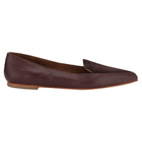Jigsaw Camile Pony Pointed Leather Flat Shoes Cherry