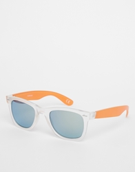 Asos Clear Frame Wayfarer Sunglasses With Colour Temples Orange