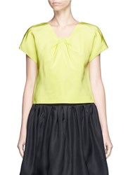 Oscar De La Renta Pleat Squared Neck Silk Twill Top Yellow
