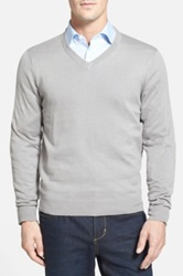 John W. Nordstrom Cotton Blend V Neck Sweater Gray