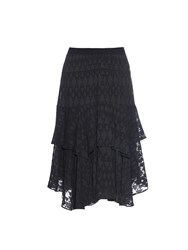 Rebecca Taylor Triangle Jacquard Ruffled Tiered Skirt