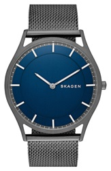 Skagen 'Holst' Mesh Strap Watch 40Mm Grey Blue