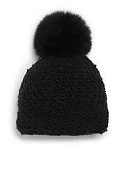 Saks Fifth Avenue Fox Fur Pom Pom Hat Black Blac