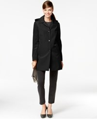 Calvin Klein Petite Hooded Rain Coat Black