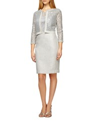 Kay Unger Sequined Tweed Jacket Silver Multi