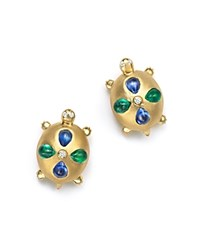Temple St. Clair 18K Gold Turtle Earrings With Blue Sapphires Emeralds And Diamonds