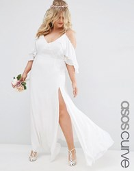 Asos Curve Bridal Button Ruffle Maxi Dress With Cold Shoulder White