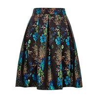 Louche Joyous Metallic Pleated Skirt Black Blue