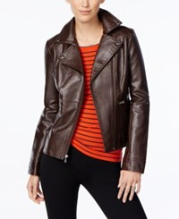 Guess Asymmetrical Zip Faux Leather Moto Jacket Brown