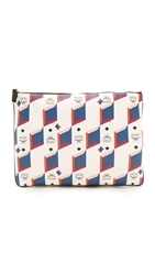 Mcm Printed Zip Pouch White