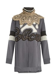 Marc Jacobs Embellished Oversized Wool Blend Dress Grey
