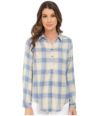 Lucky Brand Plaid Shirt Turquois Women's Long Sleeve Button Up Green
