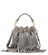 Saint Laurent Small Bucket Fringed Leather Tote Grey