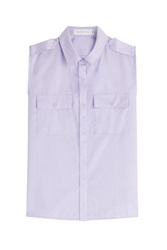 Victoria Beckham Denim Sleeveless Cotton Shirt Purple