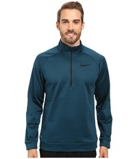 Nike Therma 1 4 Zip Pullover Midnight Turquoise Black Men's Clothing Blue