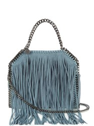 Stella Mccartney Falabella Mini Fringed Faux Suede Cross Body Bag Blue