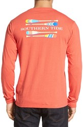 Southern Tide Men's 'Canoe Dig It' Graphic Pocket Long Sleeve T Shirt Heather Red