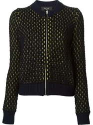 Paul Smith Black Label Zipped Up Honey Comb Effect Cardigan Blue