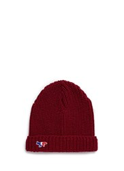 Maison Kitsune Fox Patch Wool Beanie Red