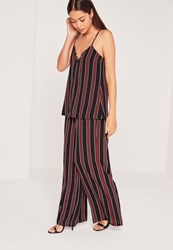Missguided Stripe Crepe Wide Leg Trousers Multi Multi