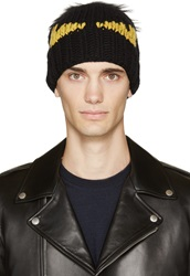 Fendi Black Fur Pom Pom Monster Beanie