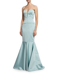 J. Mendel Strapless Bustier Mermaid Gown Aqua Blue Women's