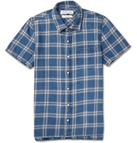 Remi Relief Check Cotton Flannel Shirt Blue