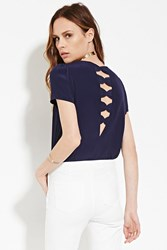 Forever 21 Contemporary Bow Back Top Navy