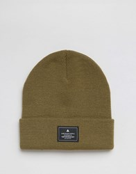 Asos Patch Beanie In Olive Olive Green