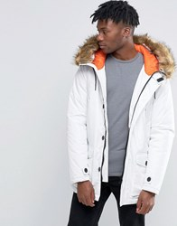 D Struct Faux Fur Trimmed Parka Jacket White