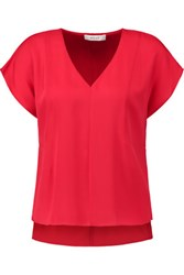 Milly Stretch Silk Crepe De Chine Top Crimson