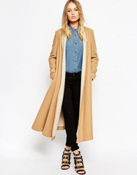 Asos Oversized Coat With Contrast Shawl Collar Camel