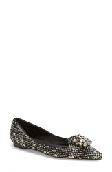 Dolcegabbana Jeweled Pointy Toe Flat Women Black White Fabric