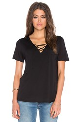 Lanston Lace Up Tee Black