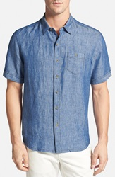Tommy Bahama 'Party Breezer' Linen Campshirt Big And Tall Old Royal Blue