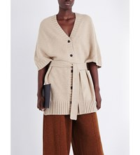 Pringle Of Scotland Short Sleeve Wool And Cashmere Blend Cardigan Camel