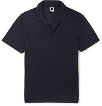 Nn.07 Jasper Slim Fit Linen Polo Shirt Blue