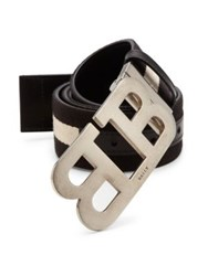Bally Striped Cotton Blend Belt Black Beige