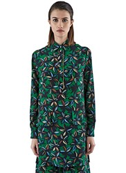 Agnona Floral Print Crepe De Chine Shirt Dress Green