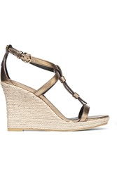 Burberry London London Metallic Leather Espadrille Wedge Sandals Gold