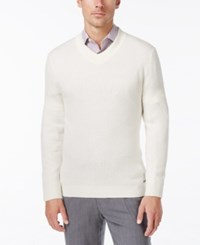 Tasso Elba Men's Cotton Cashmere Textured V Neck Sweater Only At Macy's Pearl
