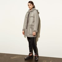 Coach Apr S Ski Reversible Shearling Coat Grey