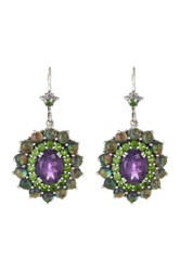 Stephen Dweck Sterling Silver Amethyst Chrome Diopside Smoky Quartz And Abalone Drop Earrings Metallic