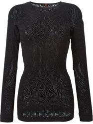 High Lace Knit Sweater Black