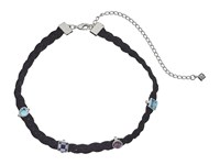 Rebecca Minkoff Multi Stone Charms On Braided Leather Choker Necklace Silver Blue Multi Necklace