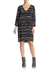 Vince Striped Three Quarter Sleeve Shift Dress Black Off White