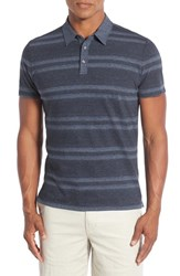 Robert Barakett Men's 'Cameron' Double Stripe Pique Polo Pacific