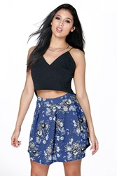 Boohoo Floral Print Box Pleat Skater Skirt Black