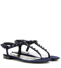 Balenciaga Classic Studded Suede Sandals Blue