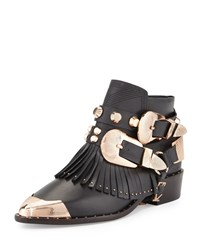 Ivy Kirzhner Santos Fringe Leather Bootie Black